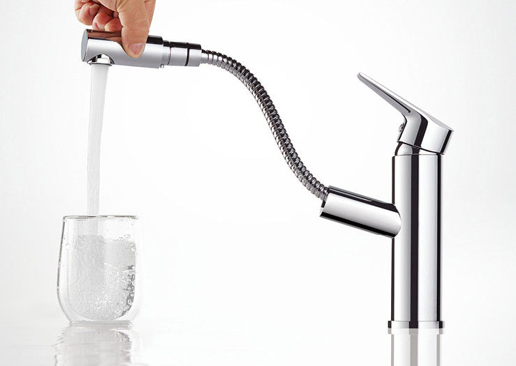 Bathroom Basin rotatable Hotel Pull Out Sprayer Faucet
