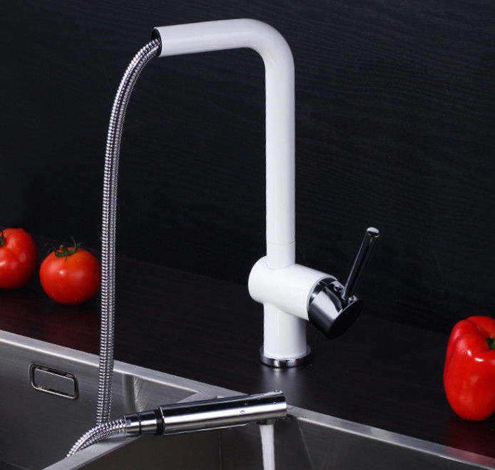 White Pull Out Rotatable Kitchen Scandinavian Copper Sink Faucet
